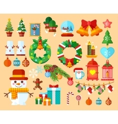 Set Christmas accessories in a flat style vector image
