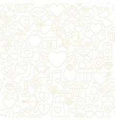 Thin Valentine Day Line Seamless White Pattern vector image