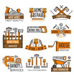 work tool sketch emblem set for home repair design vector image vector image