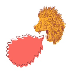 Drawing lion speech bubble vector image