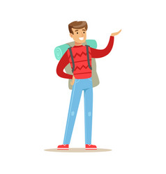 happy young man traveling with backpack colorful vector image vector image