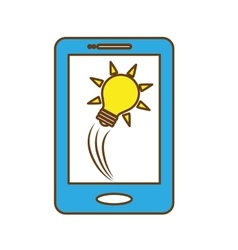 Smartphone and bulb light icon vector