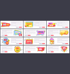 big sale and special offer set vector image