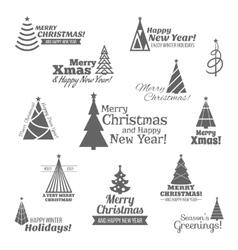Christmas tree stamps set black vector image