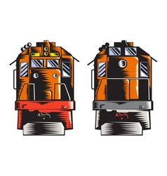 Diesel Train Front Rear Woodcut Retro vector image
