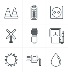 Line Icons Style black eco energy icons vector image