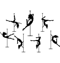 Seven pole dancers silhouettes vector image vector image