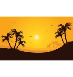Silhouette of palm in hills scenery vector image