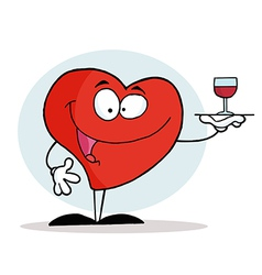 Smiling Red Heart Serving A Glass Of Red Wine vector image vector image