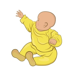 The baby in yellow pajamas sitting vector