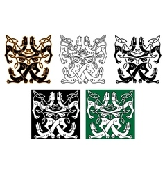 Wild dogs celtic knot ornaments vector image