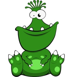 A cute green monster vector