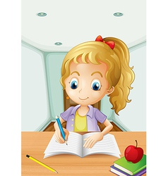 A girl with an apple at the top of a book vector