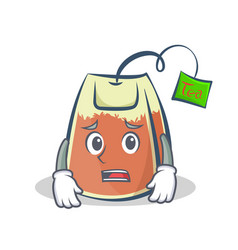 Afraid tea bag character cartoon art vector