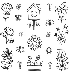 art of spring with hand draw vector image