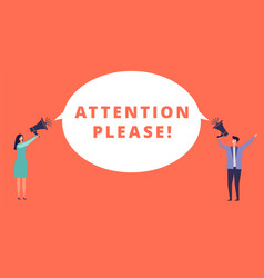 Attention please tiny people hold megaphones vector
