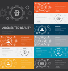 Augmented reality infographic 10 line icons vector