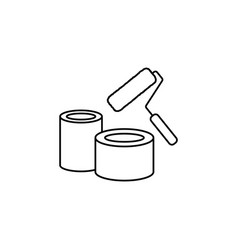 Banks of paint and roller line icon vector