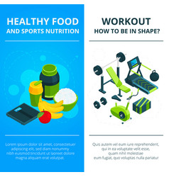 banners set with of gym equipment vector image