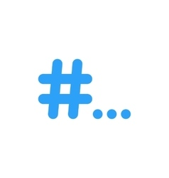 Blue hashtag icon with points vector
