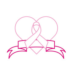Breast cancer awareness month ribbon heart love vector