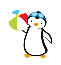cartoon card with penguin summer with penguin vector image