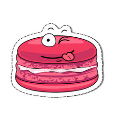 Cartoon macaron cute character face sticker vector