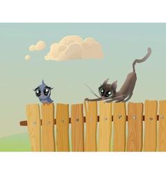 Cat hunts a bird vector image