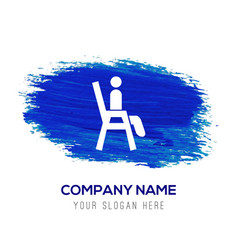 Chair icon - blue watercolor background vector