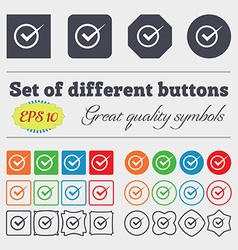 Check mark sign icon Checkbox button Big set of vector
