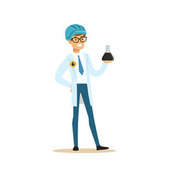 chemical engineer working on oil samples oil vector image