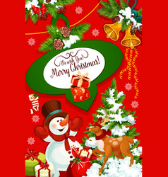 christmas card of xmas tree snowman and reindeer vector image