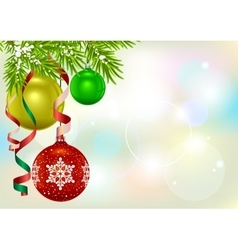 Christmas card template Fir branch and Christmas vector image