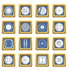 Clothes button icons set blue vector