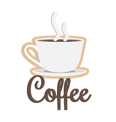 Coffee poster headline and cup vector