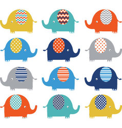 Colorful Cute Elephant Collections vector