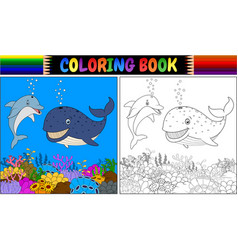 coloring book with cartoon dolphin and whale vector image