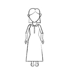 Contour old woman with hairstyle and long dress vector