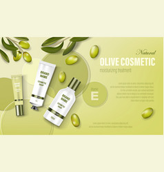 Cosmetic poster ad realistic glass jar with green vector