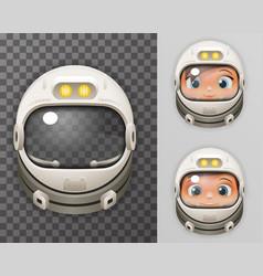 Cosmonaut Helmet Realistic 3d Astronaut Spaceman vector image