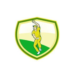 Cricket Player Bowling Crest Cartoon vector