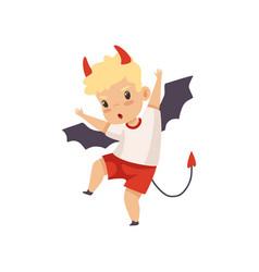 Cute boy devil naughty kid bad child behavior vector