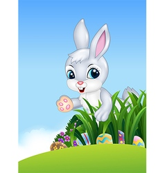 Cute Easter bunny looking for colorful Easter eggs vector
