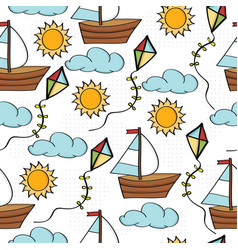 Doodle cartoon seamless pattern summer holiday vector