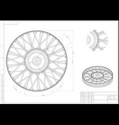 Drawing and 3d model wheels with needles vector