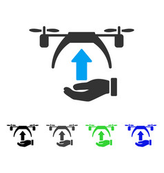 Drone takeoff flat icon vector