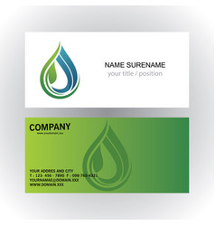 Drop water ecology vetor logo business card vector