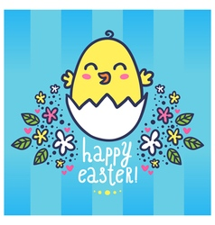 Easter greeting card with a cute chicken in the vector image vector image