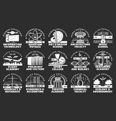 Education icons university school and academy vector