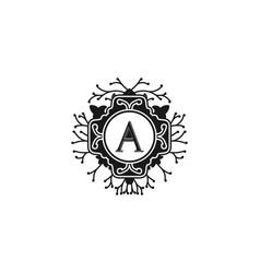 elegant floral monogram letter a for wedding and vector image